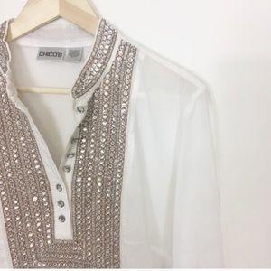 Chico's white tunic gemmed collar shirt